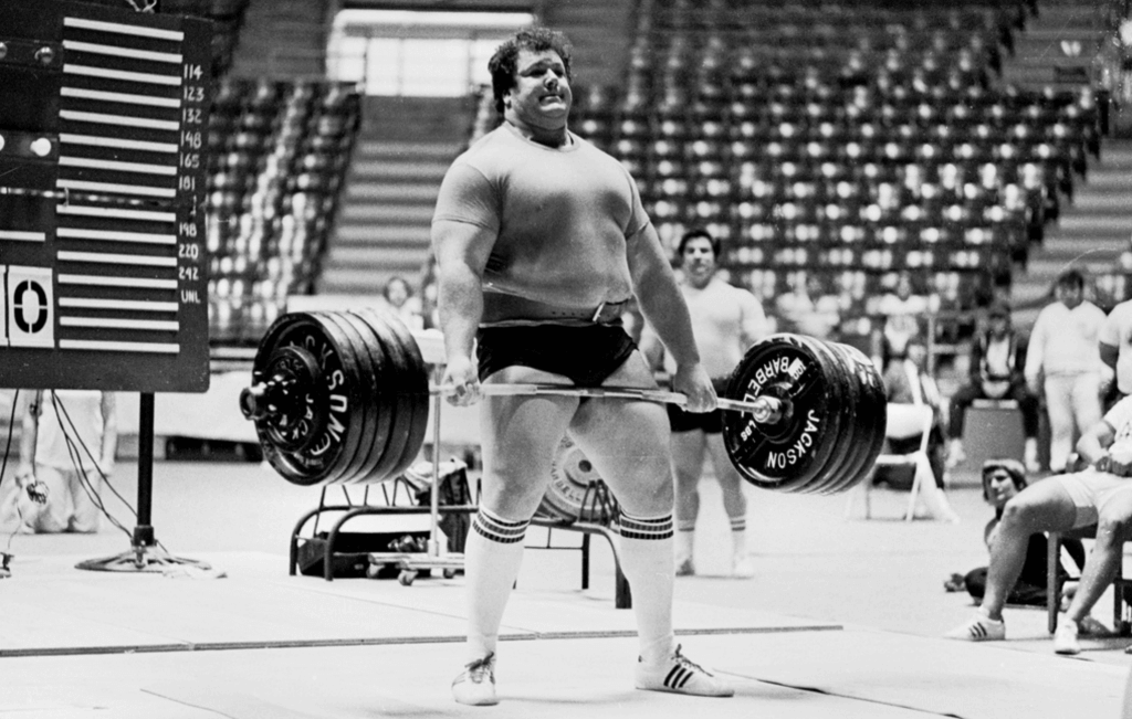 """Don Reinhoudt – one of the all-time great lifters. He thought he totaled 2420 in the 1970s, but when they weighed the plates after the meet, they discovered that they were underweight, and that his total was """"only"""" 2391."""