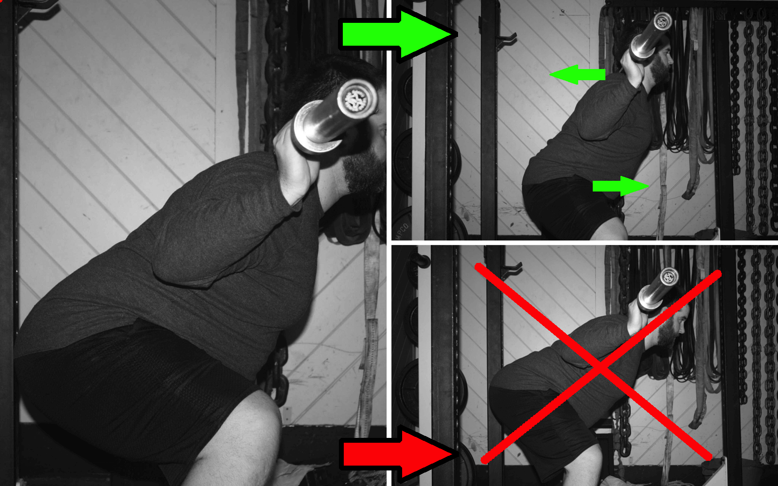 Drive your traps back into the bar and your hips under the bar to fight through the sticking point effectively.