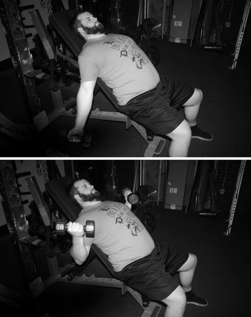 Incline curls: my go-to biceps exercise for happy elbows with heavy bench training.