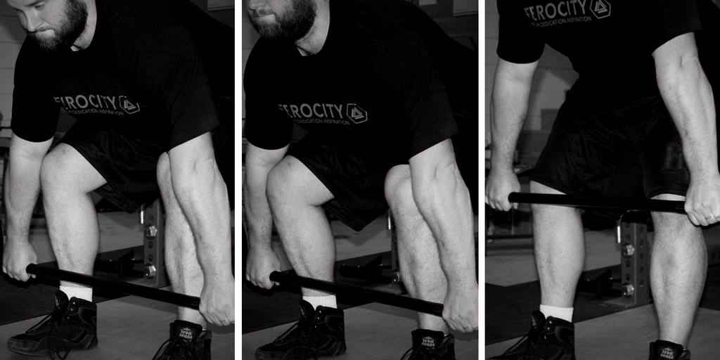 Knees are further forward on the left, and shins are pretty close to vertical in the middle. By the time the bar gets close to the knees, the positioning is the same regardless.