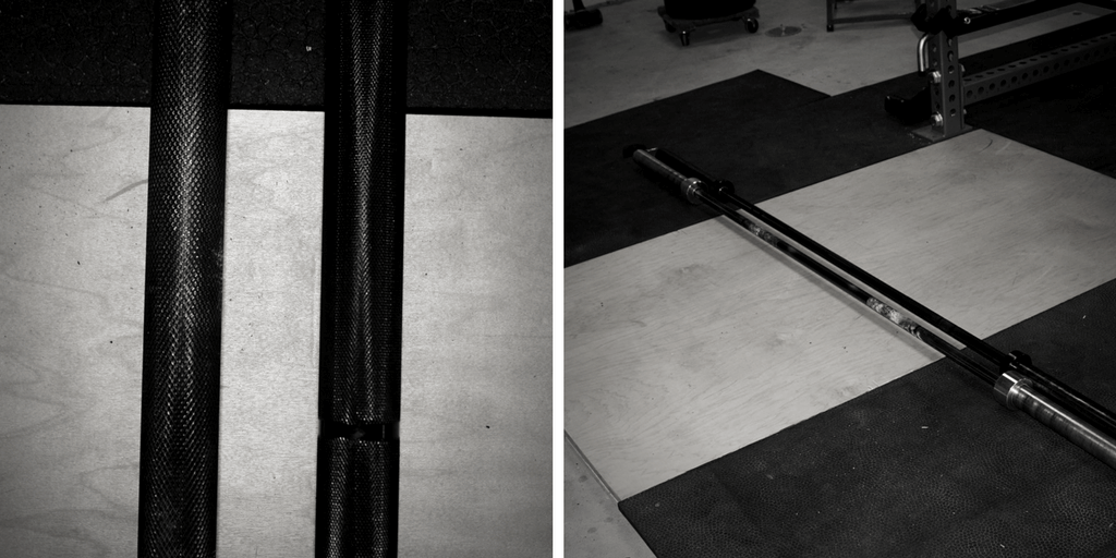 In the picture on the left, the bar on the left is the power bar. Notice it's slightly skinnier, and the knurling is a bit deeper. In the picture on the right, the bar nearest the camera is the power bar. Notice that it's slightly longer, allowing for wider sumo stances and more whip.