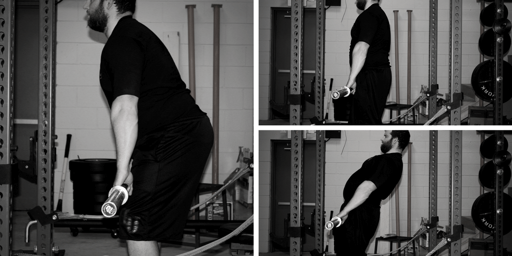 On the left: nearing lockout. Top right: Standing straight up with hips and spine extended in a solid lockout. Bottom right: hypextended lockout, with knees re-flexing.