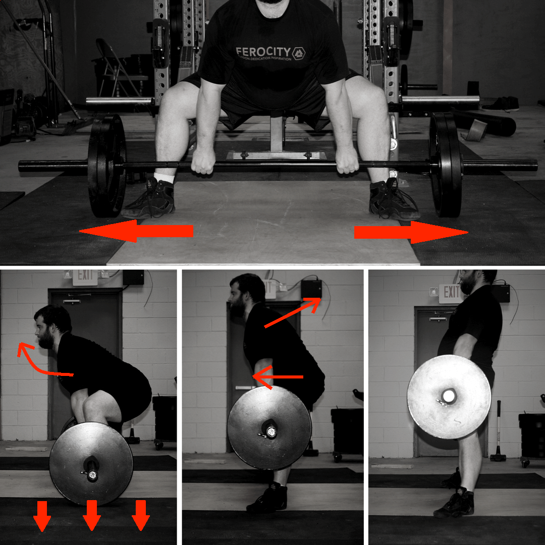 """Similar cues to the conventional deadlift, with the addition of """"rip the floor in half"""" as you start the lift."""